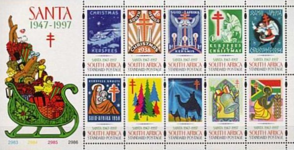 [Christmas - The 50th Anniversary of S.A.N.T.A (South African National Tuberculosis Association). Charity Labels, Typ ]