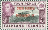 """[Falkland Islands Postage Stamps Overprinted """"SOUTH GEORGIA DEPENDENCY OF."""", type A4]"""