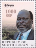 [John Garang, 1945-2005 - Stamp of 2011 Surcharged, type B1]