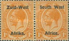 """[South Africa Postage Stamps Overprinted """"South West(14½mm wide) Africa"""" or """"Zuis-West Afrika"""" - Overprint Spaced 14mm, type A12]"""