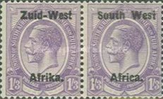 """[South Africa Postage Stamps Overprinted """"South West(14½mm wide) Africa"""" or """"Zuis-West Afrika"""" - Overprint Spaced 14mm, type A14]"""