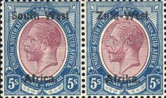 """[South Africa Postage Stamps Overprinted """"South West(14½mm wide) Africa"""" or """"Zuis-West Afrika"""" - Overprint Spaced 14mm, type A19]"""