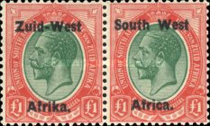 """[South Africa Postage Stamps Overprinted """"South West(14½mm wide) Africa"""" or """"Zuis-West Afrika"""" - Overprint Spaced 14mm, type A22]"""