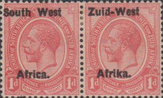 "[South Africa Postage Stamps Overprinted ""South West(14½mm wide) Africa"" or ""Zuid-West Afrika"" - Overprint Spaced 14mm, type A3]"