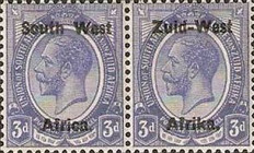 "[South Africa Postage Stamps Overprinted ""South West(14½mm wide) Africa"" or ""Zuid-West Afrika"" - Overprint Spaced 14mm, type A7]"