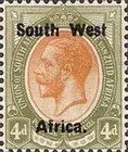 "[South Africa Postage Stamps Overprinted ""South West(14½mm wide) Africa"" or ""Zuid-West Afrika"" - Overprint Spaced 14mm, type A8]"
