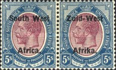 """[South Africa Postage Stamps Overprinted """"South West Africa"""" or """"Zuid-West Afrika"""" - Overprint Spaced 10mm, type B1]"""