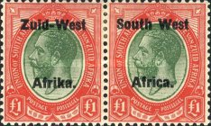 """[South Africa Postage Stamps Overprinted """"South West Africa"""" or """"Zuid-West Afrika"""" - Overprint Spaced 10mm, type B4]"""