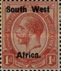 """[South African Stamps Overprinted """"South West(14mm wide) Africa"""" or """"Zuidwest Afrika"""" - Overprint Spaced 14mm, type C2]"""