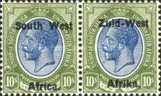 """[South African Postage Stamps Overprinted """"South West(14mm wide) Africa"""" or """"Zuidwest Afrika"""" - Overprint Spaced 14mm, type C21]"""