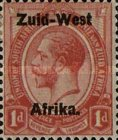 """[South African Stamps Overprinted """"South West(14mm wide) Africa"""" or """"Zuidwest Afrika"""" - Overprint Spaced 14mm, type C3]"""