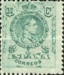 [King Alfonso XIII - Blue Control Numbers on Backside, type BG6]