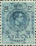 [King Alfonso XIII - Blue Control Numbers on Backside, type BG8]