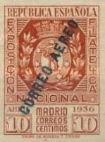 [Airmail - National Philatelic Exhibition, Madrid - As Previous, in Different Colour and Overprinted CORREO AEREO, type GW]