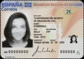 [The 75th Anniversary of the DNI - Spanish National Identification Document, type HCB]