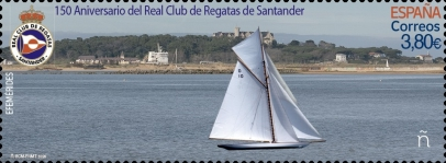 [The 150th Anniversary of the Santander Royal Yacht Club - Holographic Design 4 Images in 1 Stamp, type HCW]