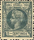 [King Alfonso XIII - Inscription GUINEA ESPANOLA - 1902, Blue Control Number on Back Side, type A]