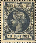 [King Alfonso XIII - Inscription GUINEA ESPANOLA - 1902, Blue Control Number on Back Side, type A1]