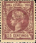 [King Alfonso XIII - Inscription GUINEA ESPANOLA - 1902, Blue Control Number on Back Side, type A2]