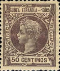 [King Alfonso XIII - Inscription GUINEA ESPANOLA - 1902, Blue Control Number on Back Side, type A3]