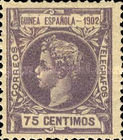 [King Alfonso XIII - Inscription GUINEA ESPANOLA - 1902, Blue Control Number on Back Side, Typ A4]