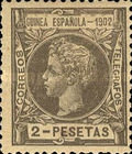 [King Alfonso XIII - Inscription GUINEA ESPANOLA - 1902, Blue Control Number on Back Side, Typ A6]