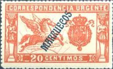 "[Special Delivery  - Spanish Postage Stamp Overprinted ""MARRUECOS"" in Blue, Typ C]"
