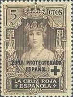 """[Red Cross - Not issued Spanish Stamps Overprinted """"ZONA PROTECTORADO ESPANOL"""", type R]"""