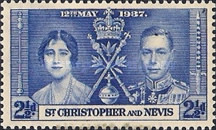 """[The Coronation of King George VI and Queen Elizabeth, Inscription """"St. Christopher and Nevis"""", type I2]"""