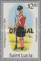 [Military Uniforms - St. Lucia Postage Stamps of 1985 Overprinted