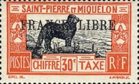 [Newfoundland Dog - Postage Due Stamps of 1932 Overprinted FRANCE LIBRE - F. N. F. L.