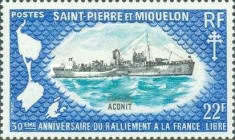 [The 30th Anniversary of Allegiance to Free French Movement - British Corvettes on Loan to Free French, type FR]