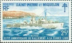 [The 30th Anniversary of Allegiance to Free French Movement - British Corvettes on Loan to Free French, type FS]