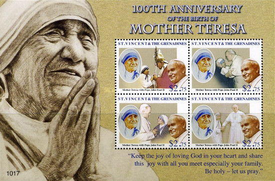 [The 100th Anniversary of the Birth of Mother Teresa, 1910-1997, type ]