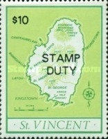[Map of St. Vincent - Not Issued Stamps Overprinted