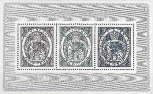 """[The 100th Anniversary of St. Vincent """"Colonial Coat of Arms"""" Stamps, type ]"""