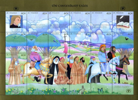 [International Literacy Year - Chaucer's Canterbury Tales, type ]