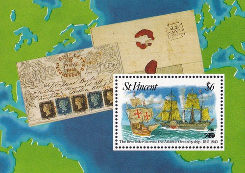 [Commemoration of First Use of Adhesive Stamps on Trans-Atlantic Mail on 15.5.1840, type ]