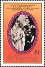 [The 40th Anniversary of the Wedding of Queen Elizabeth II and Prince Philip, and the 150th Anniversary of Queen Victoria's Accession, type ACA]