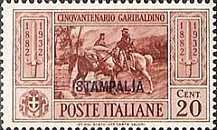 """[Italian Occupation- Italian Postage Stamps No. 360-369 Overprinted """"STAMPALIA"""", tyyppi L]"""