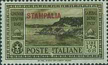 """[Italian Occupation- Italian Postage Stamps No. 360-369 Overprinted """"STAMPALIA"""", tyyppi P]"""