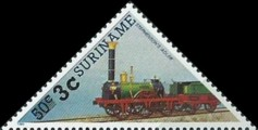 [Railway Locomotives Stamps of 1985 Surcharged, Typ AWM1]