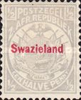 """[South African Republic Postage Stamp Overprinted """"Swazieland"""" in Red, type B]"""