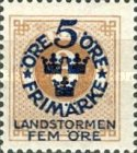 """[Territorial Defence - Numeral Stamps Overprinted """"LANDSTORMEN"""" & Surcharged, Typ O1]"""