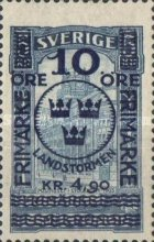 """[Territorial Defence - Central Post Office Overprinted """"LANDSTORMEN"""" & Surcharged, Typ O10]"""