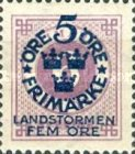 """[Territorial Defence - Numeral Stamps Overprinted """"LANDSTORMEN"""" & Surcharged, Typ O4]"""
