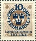 """[Territorial Defence - Numeral Stamps Overprinted """"LANDSTORMEN"""" & Surcharged, Typ O8]"""