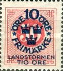 """[Territorial Defence - Numeral Stamps Overprinted """"LANDSTORMEN"""" & Surcharged, Typ O9]"""