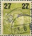 [King Gustaf V Stamps of 1911-1919 Surcharged, type R4]