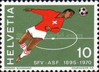 [The 75th Anniversary of the Swiss Football Association - Population Census - Swiss Alps - European Nature Conservation Year, type AJM]